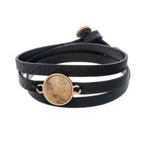 Black, genuine leather, wrap bracelet displaying a picture jasper, natural stone focal and button closure.