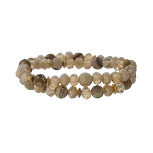 Picture jasper natural stone and topaz faceted bead stretch bracelet set with gold tone accents.