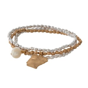 Two tone stretch bracelet with a state of Arkansas and freshwater pearl bead charm.