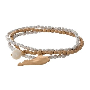 Two tone stretch bracelet with a state of Kentucky and freshwater pearl bead charm.