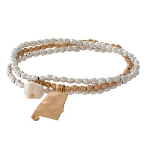 Two tone stretch bracelet with a state of Alabama and freshwater pearl bead charm.