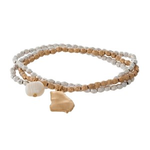 Two tone stretch bracelet with a state of Georgia and freshwater pearl bead charm.