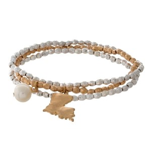Two tone stretch bracelet with a state of Louisiana and freshwater pearl bead charm.