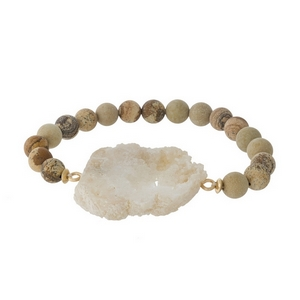 Picture jasper natural stone beaded stretch bracelet featuring a white druzy stone focal.
