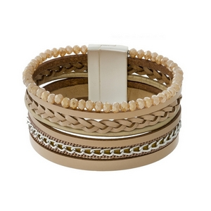 Tan faux leather magnetic bracelet with topaz beads.