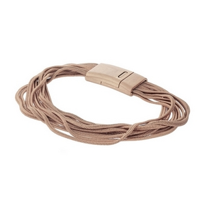 Rose gold tone, multi layer chain bracelet with a magnetic closure.