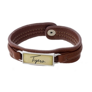 """Officially licensed, LSU brown faux leather snap bracelet with a silver tone bar saying """"Tigers."""""""