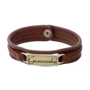 """Officially licensed, University of South Carolina brown faux leather snap bracelet with a silver tone bar saying """"Gamecocks."""""""