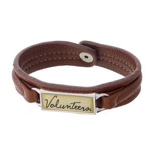 """Officially licensed, University of Tennessee brown faux leather snap bracelet with a silver tone bar saying """"Volunteers."""""""