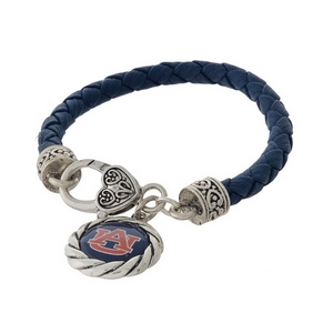 Officially licensed, Auburn University faux leather bracelet with a silver tone clasp and a logo charm.
