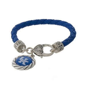 Officially licensed, University of Kentucky faux leather bracelet with a silver tone clasp and a logo charm.