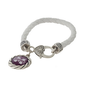 Officially licensed, Mississippi State University faux leather bracelet with a silver tone clasp and a logo charm.