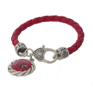 Officially licensed, University of Louisville faux leather bracelet with a silver tone clasp and a logo charm.