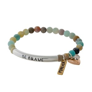 "Amazonite beaded stretch bracelet with a silver tone bar stamped with ""Be Brave."""