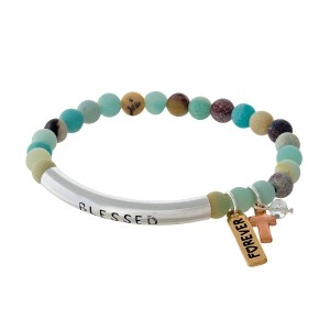 "Amazonite beaded stretch bracelet with a silver tone bar stamped with ""Blessed."""