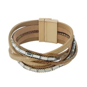 Brown, tan, and beige faux leather magnetic bracelet with braided cords and clear rhinestones.