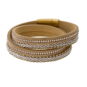 Tan faux leather wrap bracelet with a magnetic closure.
