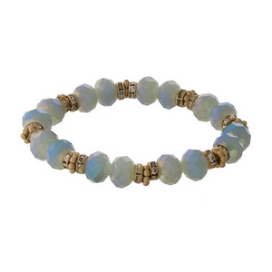 Gray opal and gold tone beaded stretch bracelet with clear rhinestone accents.
