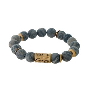 """Gray jasper natural stone beaded bracelet with a gold tone bead stamped with """"Carpe Diem."""""""