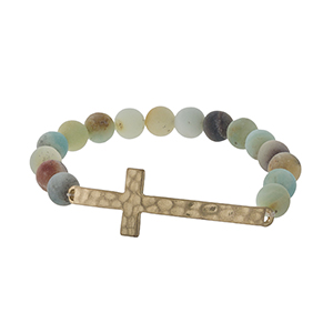 Amazonite beaded stretch bracelet with a gold tone hammered cross.