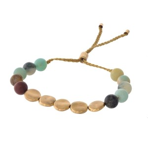 Amazonite natural stone and gold tone beaded pull-tie bracelet.