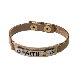 "Bronze, faux leather snap bracelet with a two tone bar focal stamped with ""Faith."""