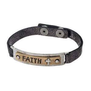 "Gunmetal gray, faux leather snap bracelet with a two tone bar focal stamped with ""Faith."""