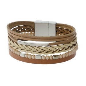 Brown faux leather magnetic bracelet with silver tone accents.