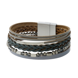 Gray faux leather magnetic bracelet with silver tone accents.
