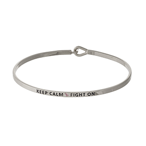"Dainty silver tone Breast Cancer Awareness bracelet, stamped with ""Keep Calm & Fight On."""