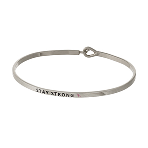 "Dainty silver tone Breast Cancer Awareness bracelet, stamped with ""Stay Strong."""