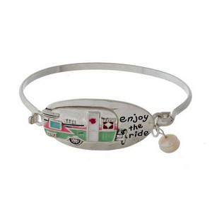 """Silver tone, bangle bracelet with a camper focal, stamped with """"Enjoy the Ride."""""""