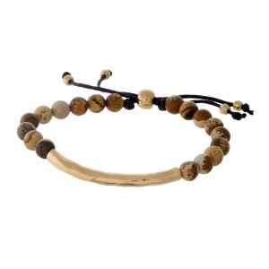 Picture jasper, natural stone beaded pull-tie bracelet with a hammered gold tone bar.