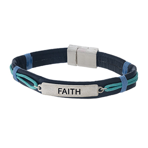 """Faux leather magnetic bracelet with a silver tone bar stamped with """"Faith."""""""