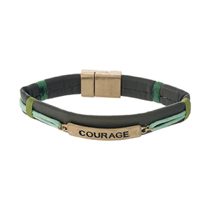 """Brown faux leather magnetic bracelet with a gold tone bar stamped with """"Courage."""""""