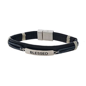 """Faux leather magnetic bracelet with a silver tone bar stamped with """"Blessed."""""""