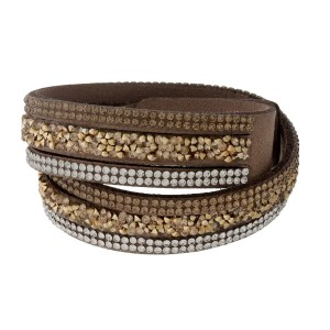 Tan, faux suede wrap bracelet with clear rhinestone accents and a two-snap closure.