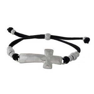 Faux leather, cord, pull-tie bracelet with a hammered cross focal.