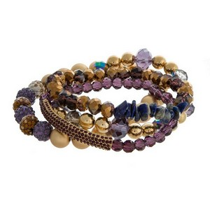 Multi-strand stretch bracelet set with natural stone, faceted, and gold tone beads.