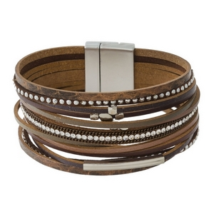 Faux leather, magnetic bracelets with clear rhinestones and silver tone accents.