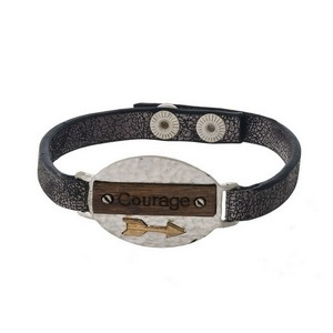 """Faux leather snap bracelet with a bar and wooden focal stamped with """"Courage."""""""