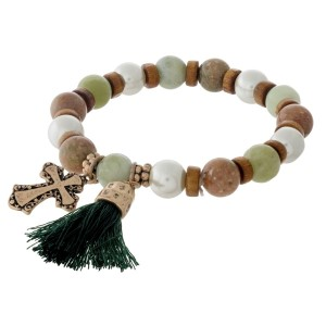 Amazonite, natural stone beaded stretch bracelet with cross and tassel charms.
