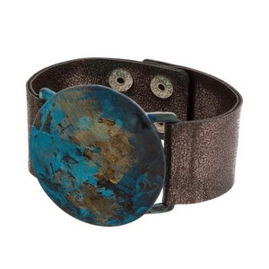 Faux leather snap bracelet with a patina circle focal.