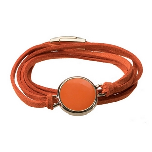 Faux suede wrap bracelet with a circle focal and a magnetic closure - perfect for gameday and adding your own vinyl monogram.