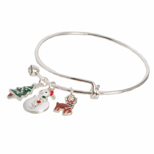 Silver tone, adjustable bangle bracelet with Christmas themed charms.
