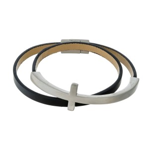 Genuine leather wrap bracelet with a cross focal and a magnetic closure.
