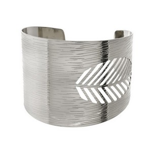 """Statement cuff bracelet with a brushed texture and a feather cutout. Approximately 2"""" in width."""