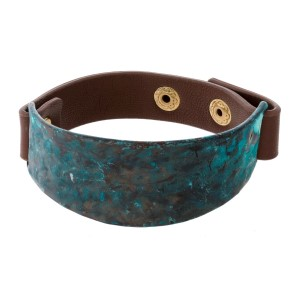 Faux leather snap bracelet with a hammered metal focal.