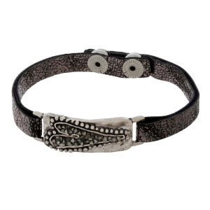 Gunmetal gray faux leather snap bracelet with a pave crushed hematite, heart focal.