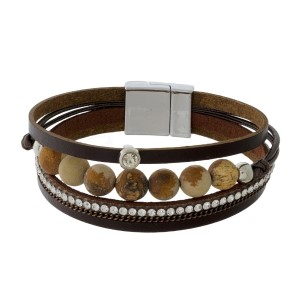 Faux leather bracelet with natural stone beads and a magnetic closure.